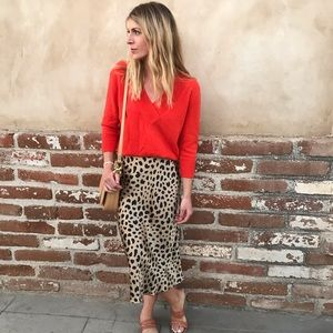 Anthropologie red cashmere sweater
